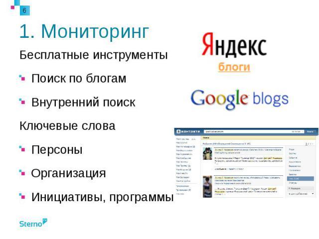 1. Мониторинг Бесплатные инструменты Поиск по блогам Внутренний поиск Ключевые слова Персоны Организация Инициативы, программы