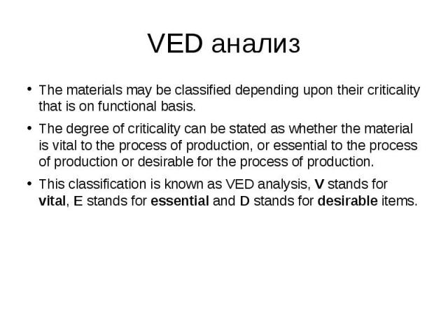 VED анализ The materials may be classified depending upon their criticality that is on functional basis. The degree of criticality can be stated as whether the material is vital to the process of production, or essential to the process of production…