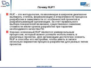 RUP – это методология, позволяющая в широком диапазоне выбирать степень формализ