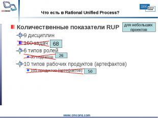 Количественные показатели RUP Количественные показатели RUP 9 дисциплин 160 зада