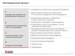 Инновационный процесс Определение стратегических приоритетов развития Декомпозиц