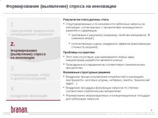 Формирование (выявление) спроса на инновации Результатом этапа должны стать: Стр