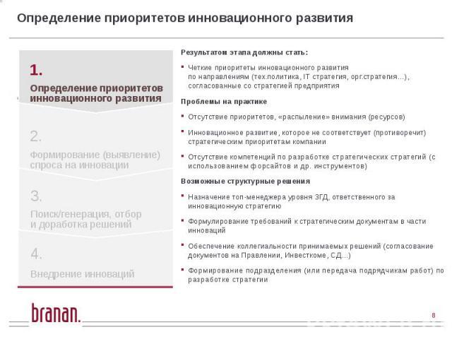 Определение приоритетов инновационного развития Результатом этапа должны стать: Четкие приоритеты инновационного развития по направлениям (тех.политика, IT стратегия, орг.стратегия…), согласованные со стратегией предприятия Проблемы на практике Отсу…