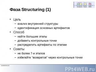 Фаза Structuring (1) Цель анализ внутренней структуры идентификация основных арт