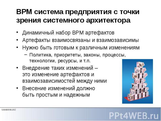 BPM система предприятия с точки зрения системного архитектора Динамичный набор BPM артефактов Артефакты взаимосвязаны и взаимозависимы Нужно быть готовым к различным изменениям Политика, приоритеты, законы, процессы, технологии, ресурсы, и т.п. Внед…