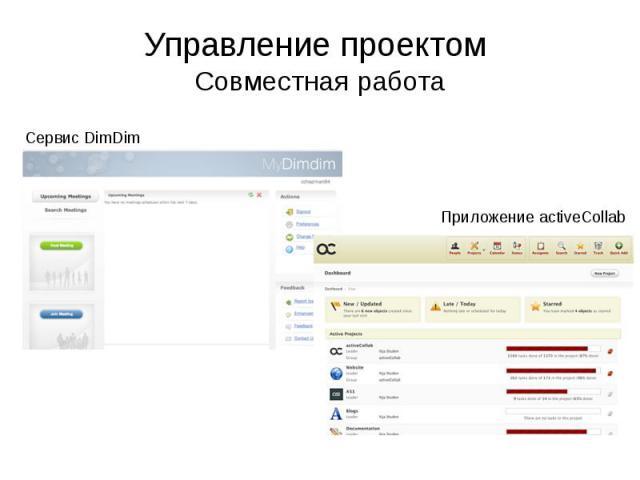 Управление проектом Совместная работа