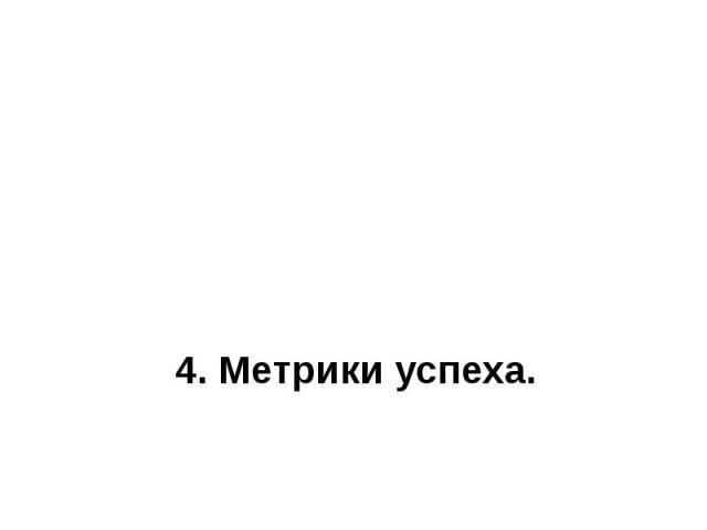 4. Метрики успеха.