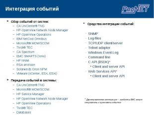 Сбор событий от систем: Сбор событий от систем: CA UniCenter® TNG HP-OpenView Ne