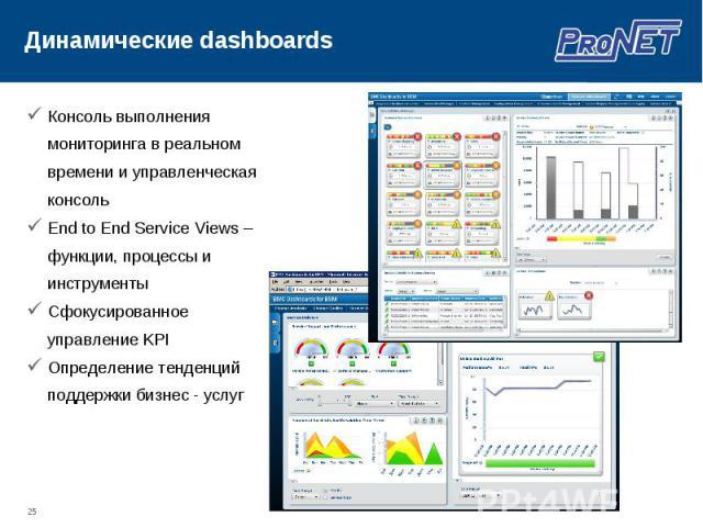 Консоль выполнения мониторинга в реальном времени и управленческая консоль Консоль выполнения мониторинга в реальном времени и управленческая консоль End to End Service Views – функции, процессы и инструменты Сфокусированное управление KPI Определен…