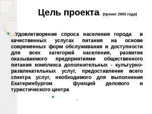 Цель проекта (проект 2005 года) Удовлетворение спроса населения города в качеств