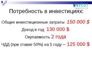 Общие инвестиционные затраты 150 000 $ Общие инвестиционные затраты 150 000 $ До