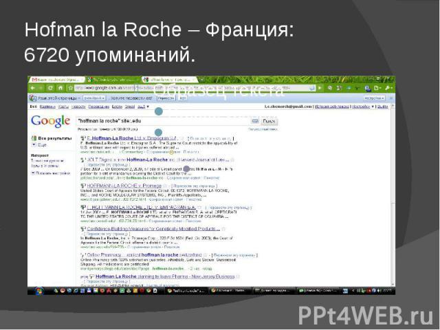 Hofman la Roche – Франция: 6720 упоминаний.