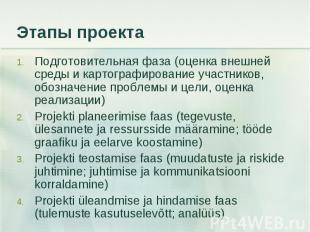 Подготовительная фаза (оценка внешней среды и картографирование участников, обоз