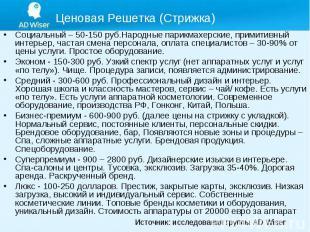 Социальный – 50-150 руб.Народные парикмахерские, примитивный интерьер, частая см