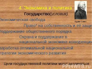 4. Экономика и политика Государство(условия)
