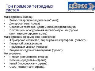 Микроуровень (завод): Микроуровень (завод): Завод-товаропроизводитель (объект);