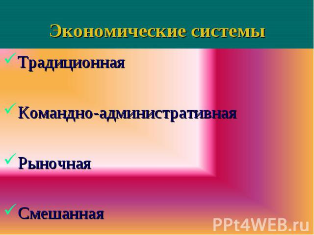 Традиционная Традиционная Командно-административная Рыночная Смешанная