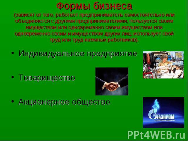 Индивидуальное предприятие Индивидуальное предприятие Товарищество Акционерное общество
