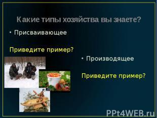 Какие типы хозяйства вы знаете? Присваивающее Приведите пример?