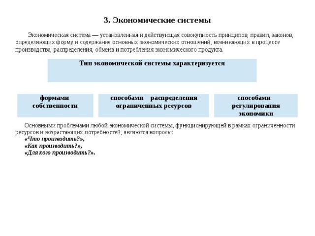 3. Экономические системы