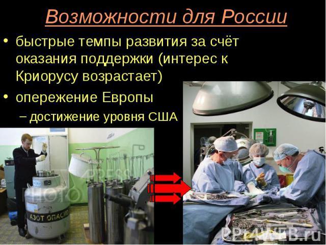 Возможности для России быстрые темпы развития за счёт оказания поддержки (интерес к Криорусу возрастает) опережение Европы достижение уровня США
