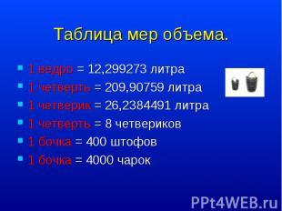 1 ведро = 12,299273 литра 1 ведро = 12,299273 литра 1 четверть = 209,90759 литра