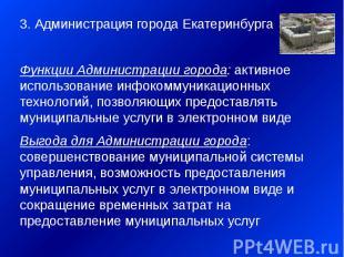3. Администрация города Екатеринбурга 3. Администрация города Екатеринбурга Функ