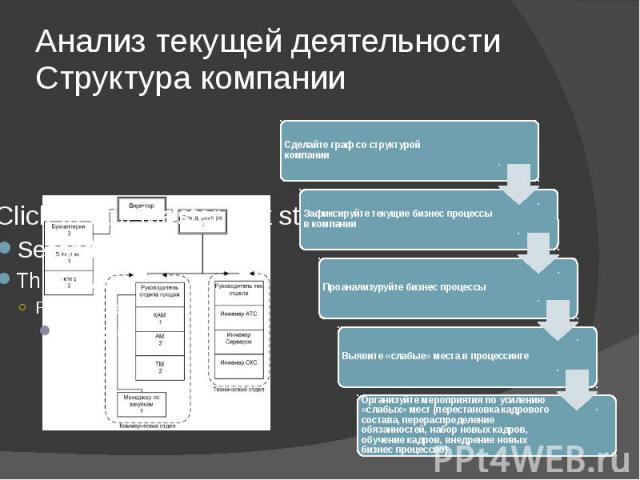Анализ текущей деятельности Структура компании