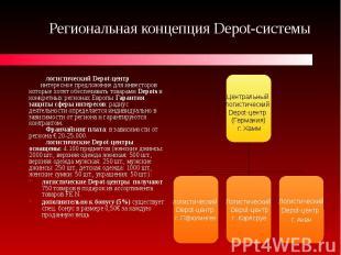 Региональная концепция Depot-системы логистический Depot-центр интересное предло