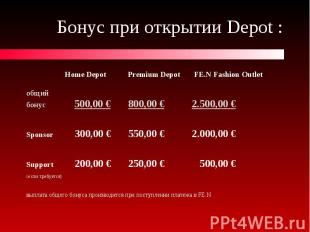 Бонус при открытии Depot : Home Depot Premium Depot FE.N Fashion Outlet общий бо