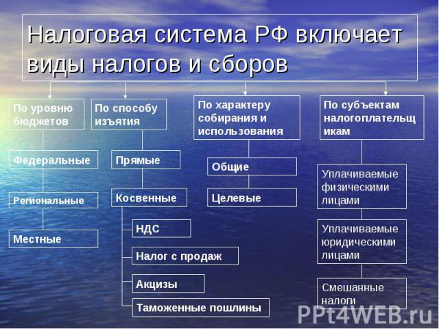 Налоговая система РФ включает виды налогов и сборов