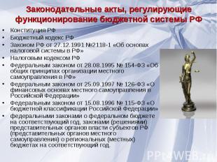 Конституция РФ Конституция РФ Бюджетный кодекс РФ Законом РФ от 27.12.1991 №2118