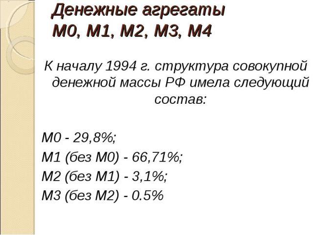 К началу 1994 г. структура совокупной денежной массы РФ имела следующий состав: К началу 1994 г. структура совокупной денежной массы РФ имела следующий состав: М0 - 29,8%; M1 (без М0) - 66,71%; М2 (без M1) - 3,1%; М3 (без М2) - 0.5%