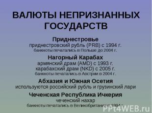 Приднестровье Приднестровье приднестровский рубль (PRB) с 1994 г. банкноты печат