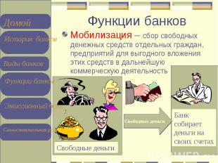 Мобилизация – сбор свободных денежных средств отдельных граждан, предприятий для