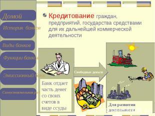 Кредитование граждан, предприятий, государства средствами для их дальнейшей комм