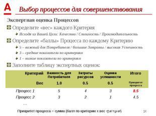 Экспертная оценка Процессов Экспертная оценка Процессов Определите «вес» каждого