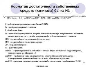 К – собственные средства (капитал) банка (П-215) К – собственные средства (капит