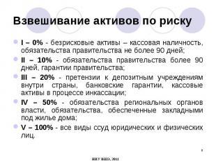 I – 0% - безрисковые активы – кассовая наличность, обязательства правительства н
