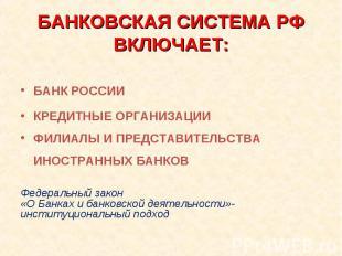 БАНК РОССИИ КРЕДИТНЫЕ ОРГАНИЗАЦИИ ФИЛИАЛЫ И ПРЕДСТАВИТЕЛЬСТВА ИНОСТРАННЫХ БАНКОВ