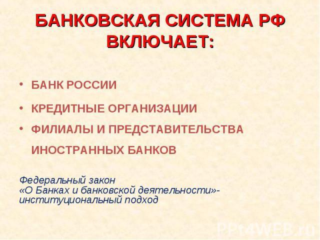 БАНК РОССИИ КРЕДИТНЫЕ ОРГАНИЗАЦИИ ФИЛИАЛЫ И ПРЕДСТАВИТЕЛЬСТВА ИНОСТРАННЫХ БАНКОВ Федеральный закон «О Банках и банковской деятельности»- институциональный подход