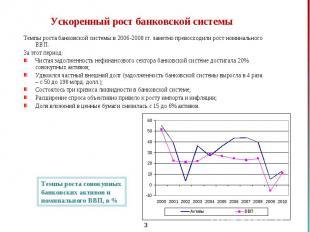 Темпы роста банковской системы в 2006-2008 гг. заметно превосходили рост номинал