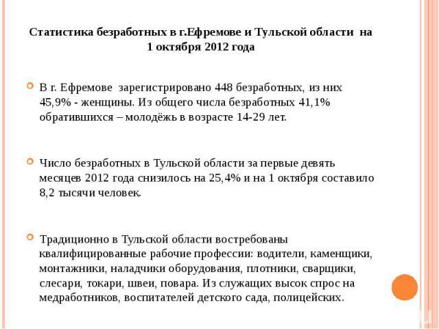 Статистика безработных в г.Ефремове и Тульской области на 1 октября 2012 года В г. Ефремове зарегистрировано 448 безработных, из них 45,9% - женщины. Из общего числа безработных 41,1% обратившихся – молодёжь в возрасте 14-29 лет. Число безработных в…