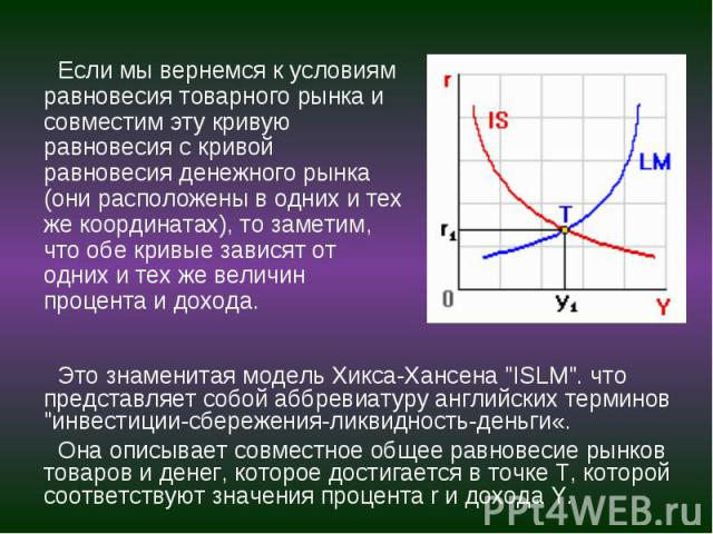 """Это знаменитая модель Хикса-Хансена """"ISLM"""". что представляет собой аббревиатуру английских терминов """"инвестиции-сбережения-ликвидность-деньги«. Это знаменитая модель Хикса-Хансена """"ISLM"""". что представляет собой аббревиатуру …"""