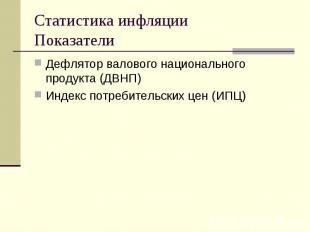 Дефлятор валового национального продукта (ДВНП) Дефлятор валового национального
