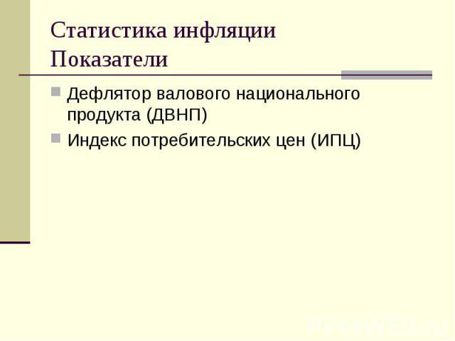 Дефлятор валового национального продукта (ДВНП) Дефлятор валового национального продукта (ДВНП) Индекс потребительских цен (ИПЦ)
