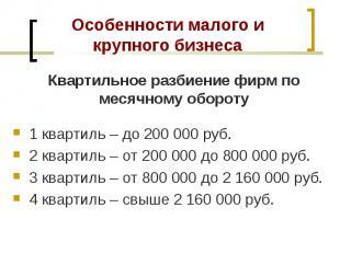 1 квартиль – до 200 000 руб. 1 квартиль – до 200 000 руб. 2 квартиль – от 200 00