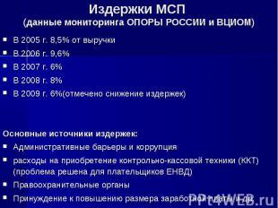В 2005 г. 8,5% от выручки В 2005 г. 8,5% от выручки В 2006 г. 9,6% В 2007 г. 6%