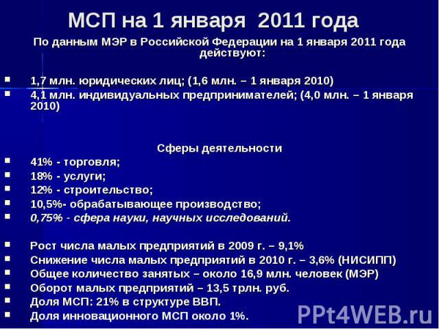 По данным МЭР в Российской Федерации на 1 января 2011 года действуют: По данным МЭР в Российской Федерации на 1 января 2011 года действуют: 1,7 млн. юридических лиц; (1,6 млн. – 1 января 2010) 4,1 млн. индивидуальных предпринимателей; (4,0 млн. – 1 …