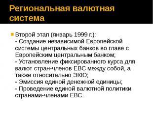 Региональная валютная система Второй этап (январь 1999 г.): - Создание независим